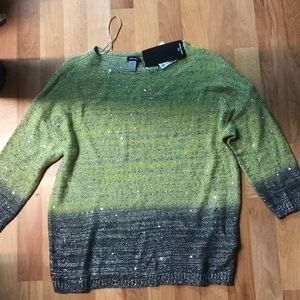 Lime green and gray sequined sweater